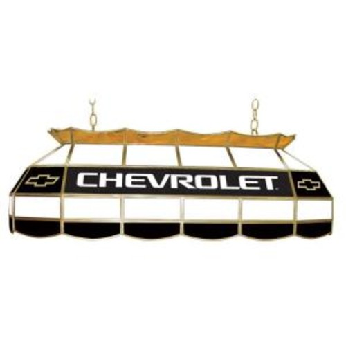Trademark Global Chevrolet 3-Light Stained Glass Hanging Tiffany Lamp