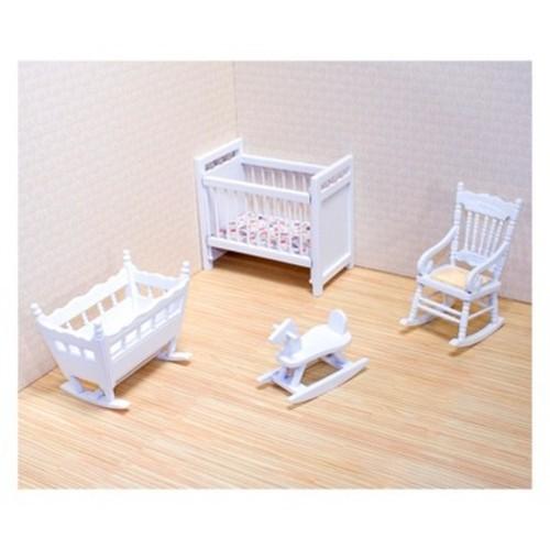 Melissa & Doug Classic Wooden Dollhouse Nursery Furniture (4pc) - Crib, Basinette, Rocker, Rocking Horse