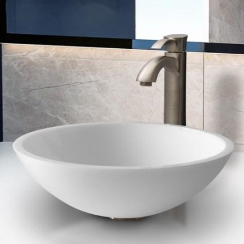 Vigo Flat Edged White Phoenix Stone Circular Vessel Bathroom Sink