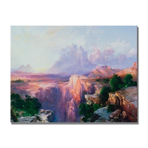 Rock Tower Of The Rio Virgin by Thomas Moran, 35x47-Inch Canvas Wall Art [35 by 47-Inch]