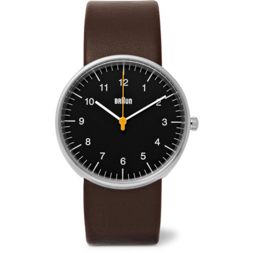Braun - BN002 Stainless Steel and Leather Watch