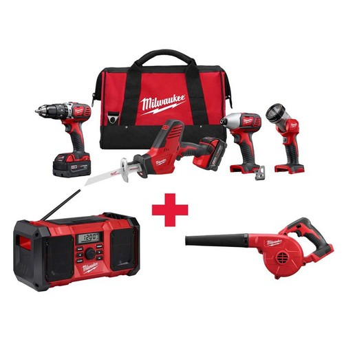 Milwaukee M18 18-Volt Lithium-Ion Cordless Combo Kit (4-Tool) with Free M18 Radio and M18 Blower