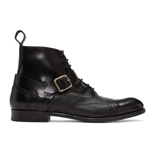 Black Buckle Brogue Boots
