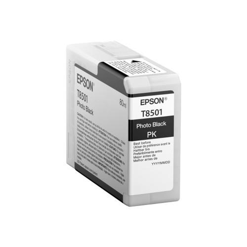 Epson T8501 - 80 ml - photo black - original - ink cartridge - for SureColor P800, P800 Designer Edition, SC-P800 (T850100)