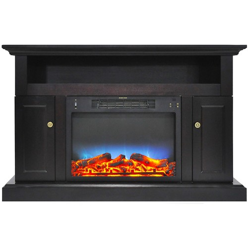 Cambridge Sorrento Electric Fireplace with an Enhanced Log Display and Stand, Black Coffee