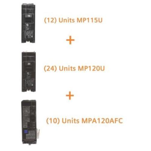 Murray 15 Amp Single Pole (12-Pack), 20 Amp Single Pole (24-Pack), 20 Amp Single Pole AFCI (10-Pack) Circuit Breakers Bundle