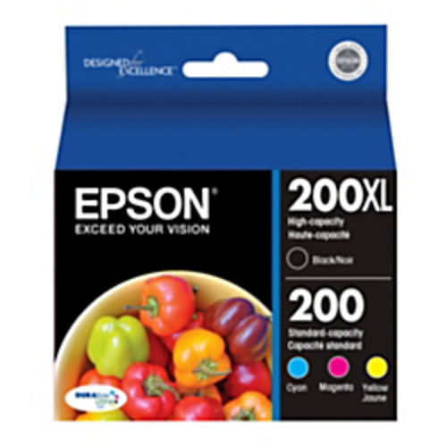 Epson 200XL/200 (T200XL-BCS) DuraBrite Ultra Black/Color Ink Cartridges, Pack Of 4