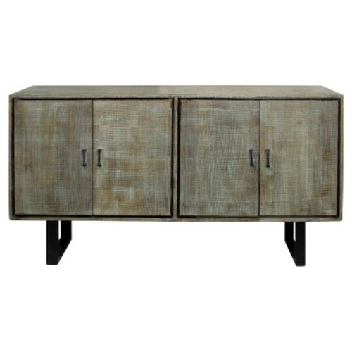 Solid Mango Wood Buffet with Scored Finished and Metal Hardware On Metal Legs - Grey Wash - Stylecraft