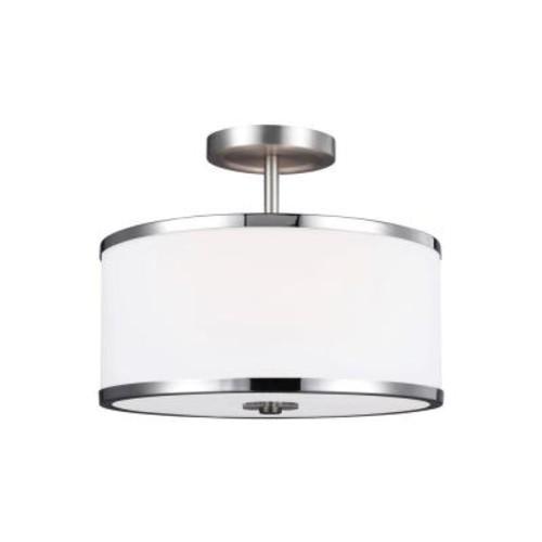 Feiss Prospect Park 2-Light Satin Nickel/Chrome Ceiling Fixture