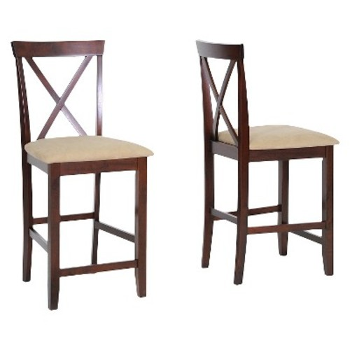 Baxton Studio Natalie Wood Modern Counter Stool, Brown, Set of 2 [Dark Brown, Large]
