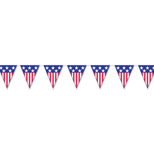 12' Patriotic Banner with 12 American Flag Pennants