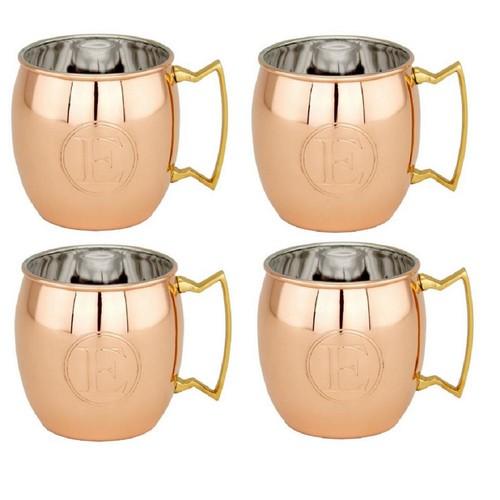 Dutch 16 oz. Solid Copper Moscow Mule Mugs, Monogram F (Set of 4)