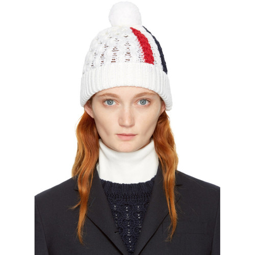 THOM BROWNE White Aran Cable Knit Stripe Pom Pom Beanie