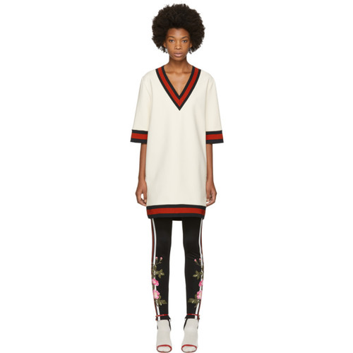 GUCCI Off-White Stretch Viscose Web Dress