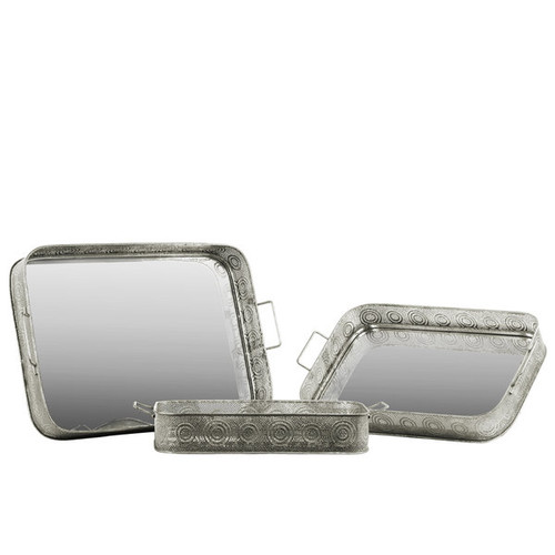 Metal Rectangular Tray with Mirror Surface and Handles Pierced Metal Silver (Set of 3)