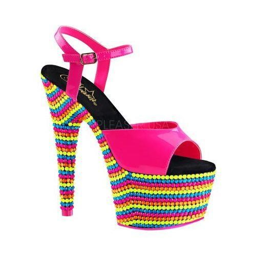 Women's Pleaser Adore 709RBS Ankle Strap Sandal Neon Hot Pink Patent/Neon Multi [option : US Women's 5 M (Regular)]