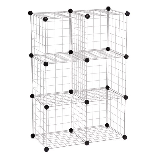 Honey-Can-Do SHF-01794 Modular Mesh Storage Cube, 6-Pack, Chrome, 43Hx29W [Silver]