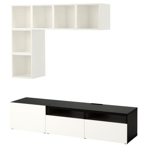 BEST / EKET TV storage combination, white, high-gloss/white [drawer : drawer runner, push-open]