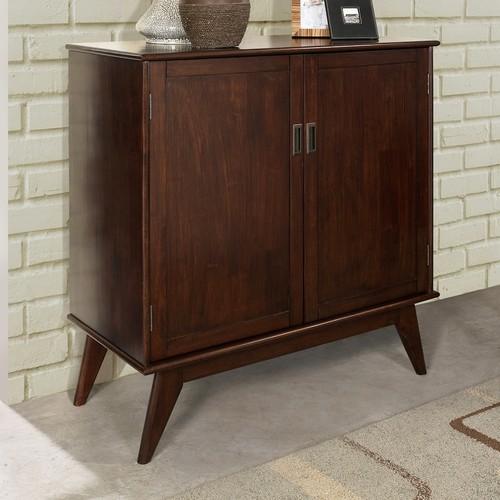Simpli Home Draper Medium Auburn Brown Storage Cabinet