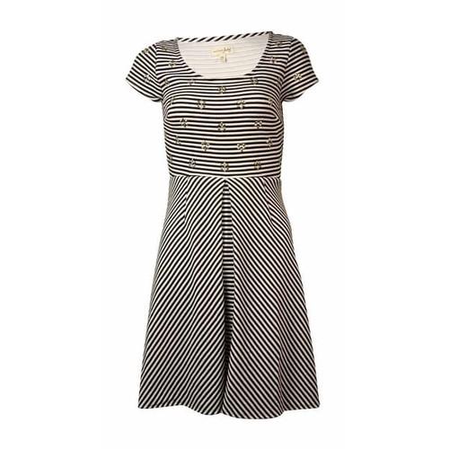 Maison Jules Women's Striped Embellished Ponte Dress - black combo
