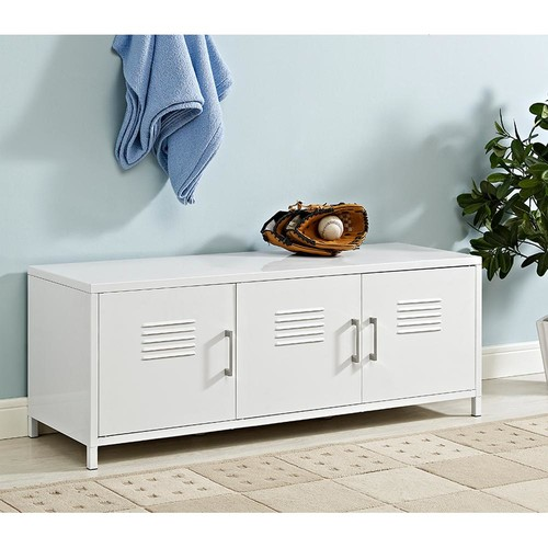 Walker Edison Furniture Company Locker Style 48 in. White Metal Storage Bench