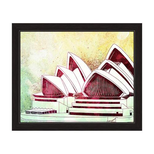 'Sydney Opera House Green' Framed Graphic Wall Art [option : 11
