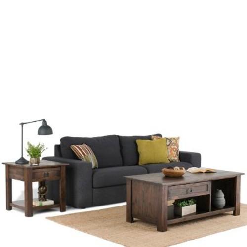 Simpli Home Monroe Rectangular Coffee Table in Distressed Charcoal Brown (AXCMON-01)