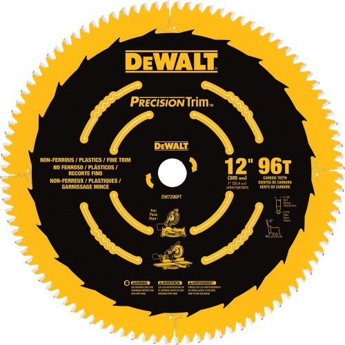 DEWALT DW7296PT Precision Trim 12-Inch 96 Tooth ATB Crosscutting Saw Blade with 1-Inch Arbor [Pack of 1]