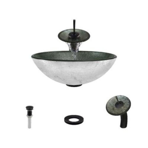 MR Direct Glass Vessel Sink in Silver Mesh with Waterfall Faucet and Pop-Up Drain in Antique Bronze