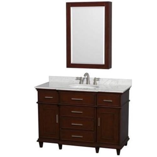 Wyndham Collection Berkeley 48 in. Vanity in Dark Chestnut, with Marble Vanity Top in White Carrara, Round Sink and Medicine Cabinet