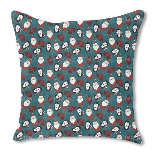 Santa's Little Helper Burlap Pillow Double Sided