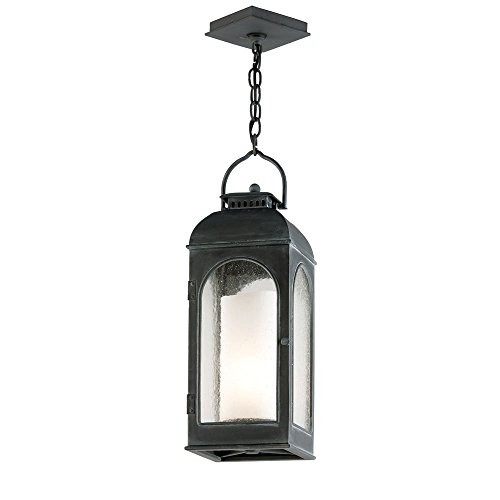 Troy Lighting Derby 1-Light Outdoor Pendant - Antique Iron Finish with Clear Seeded and Antique Ivory Candle Glass [Dark Bronze]