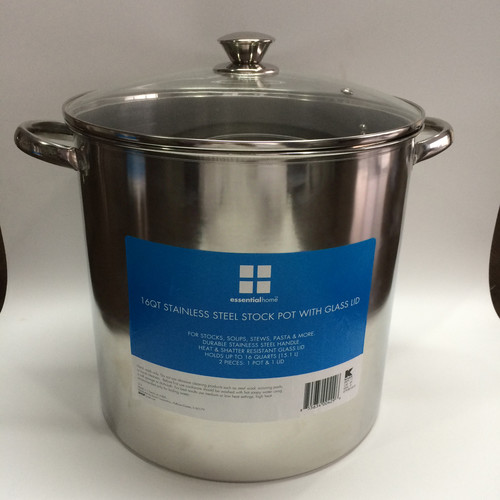 Essential Home 12Q SP 16 Qt. Stock Pot with Glass Lid