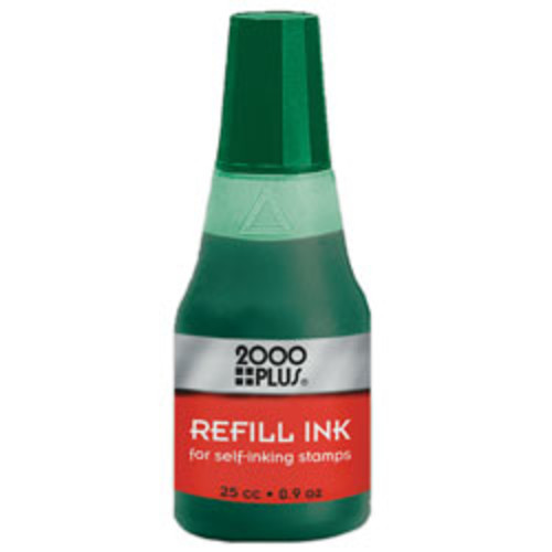 2000 PLUS Self-Inking Stamp Re-Ink Fluid, 1 Oz., Green