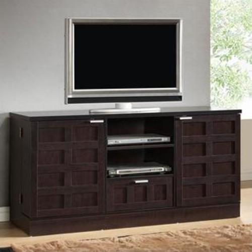 Baxton Studio Tosato TV Stand and Media Cabinet in Dark Brown