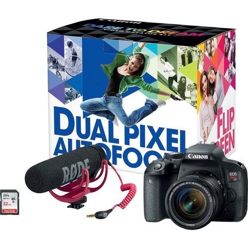 Canon - EOS Rebel T7i DSLR Camera with EF-S 18-55mm IS STM Lens Video Creator Kit - Black