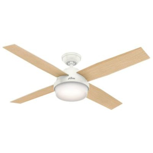 Hunter Dempsey 52 in. LED Indoor Fresh White Ceiling Fan with Light Kit and Universal Remote