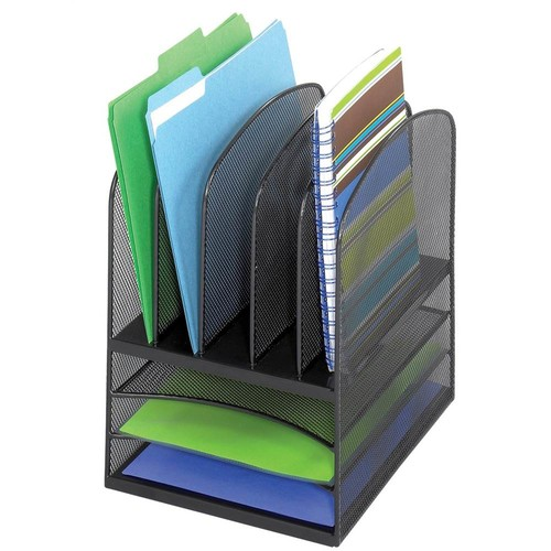 Safco Products 3266BL Onyx Mesh Desktop Organizer with 5 Vertical/3 Horizontal Sections, Black [Black]