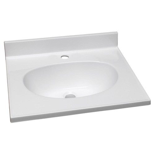 Design House 31 in. Single Faucet Hole Cultured Marble Vanity Top with Basin in White on White