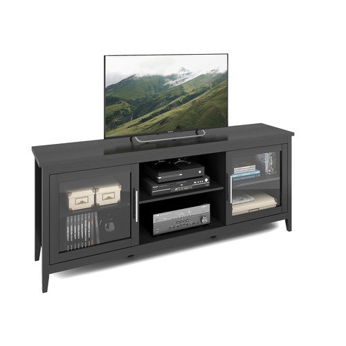 CorLiving Jackson Extra Wide Black Wood Grain TV Bench for TVs up to 80