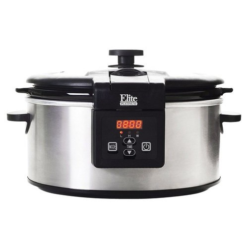 Elite - Platinum 6-Quart Slow Cooker - Stainless-Steel