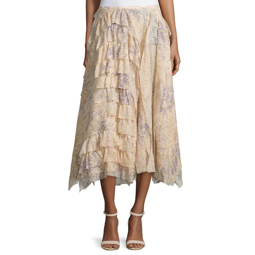 MICHAEL KORS COLLECTION Asymmetric Ruffle A-Line Skirt, Nude