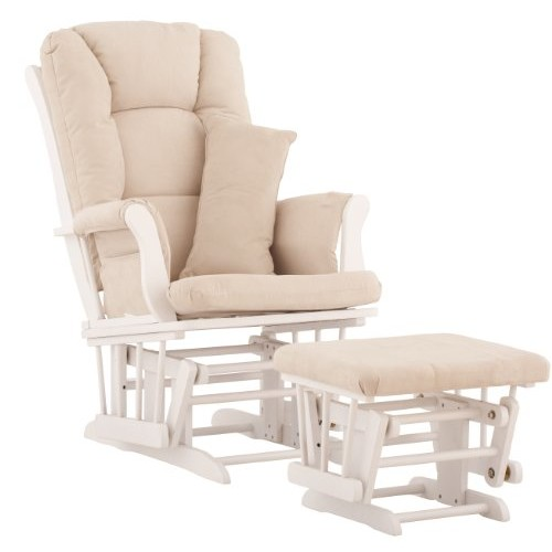 Stork Craft Tuscany Custom Glider and Ottoman with Free Lumbar Pillow, White/Beige [White/Beige]