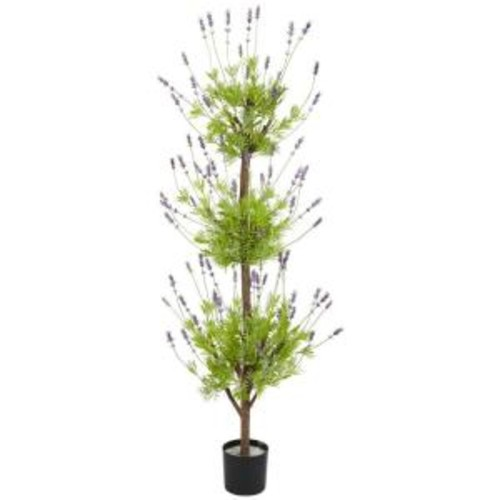 Nearly Natural 4 ft. Green Lavender Topiary Silk Tree