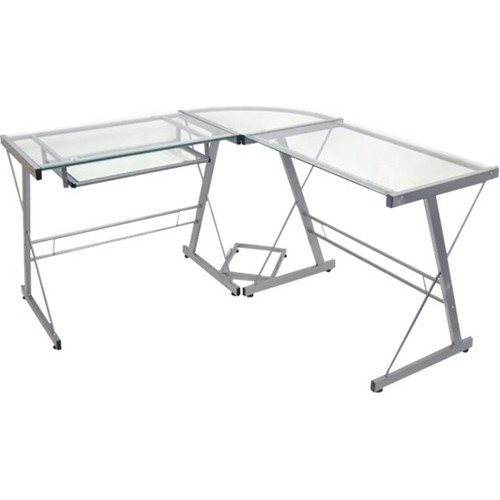 Walker Edison - L-Shape Computer Desk with Sliding Keyboard Tray - Silver