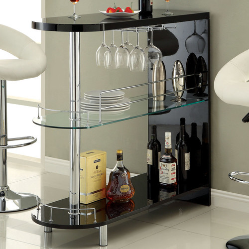 Holla Lacquer Bar with Wine Storage [Finish : Black]