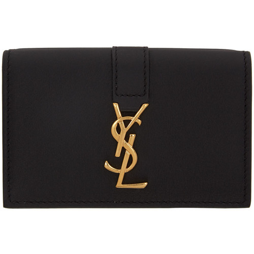 SAINT LAURENT Black Tiny Monogram Wallet