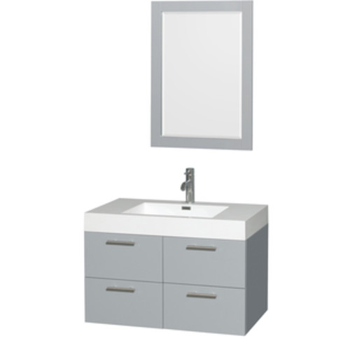 Wyndham Collection Amare Dove Grey Acrylic Resin Top Integrated Sink 24-inch Single Vanity with 24-inch Mirror