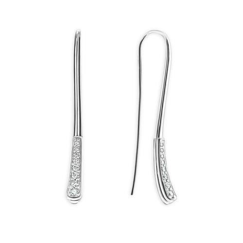 Sterling Silver Signature Caviar Diamond Linear Drop Earrings