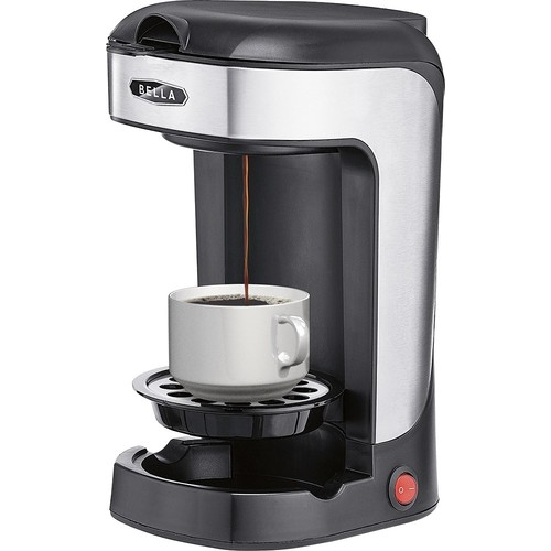 Bella - 1-Cup Coffeemaker - Black/stainless steel